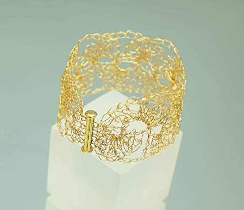 Gold-Armband, gehäkelte Gold-Armspange, Armreif im Muschelmuster, 24ct-Goldarmband