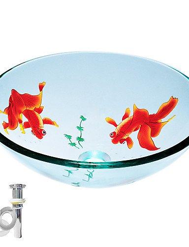 tempérée évier rond récipient en verre transparent avec pop-up et la bague de montage