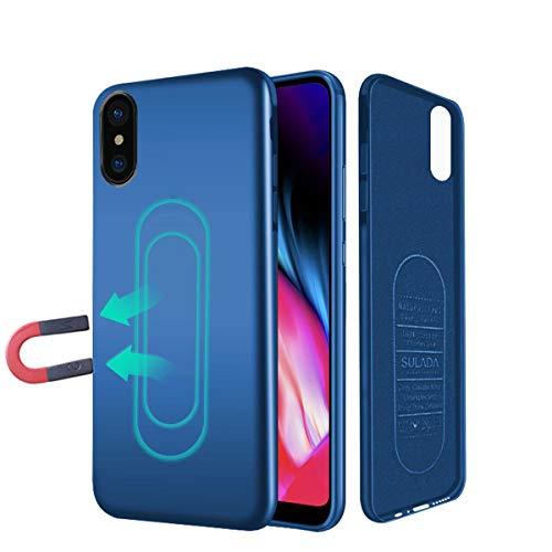iPhone X 10 Hülle, [für Magnetische Halterung] Ultra Dünn Soft TPU Handyhülle mit Eingebauter Metal Plate für Magnet KFZ Autohalterung,für iPhone X 10-Blau