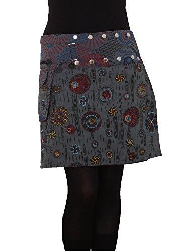 PUREWONDER Damen Wickelrock Baumwolle Rock mit Tasche sk184 Grau Einheitsgröße verstellbar