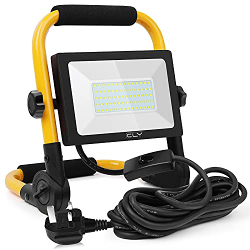 CLV 60W LED Work Light 6000LM, Job Site Lights, Plug in Folding Flood Light, Portable Stand Work Lights Floodlight for Car Repairing Home Workshop Garage, 6000K Cold White 5M Wire with Plug