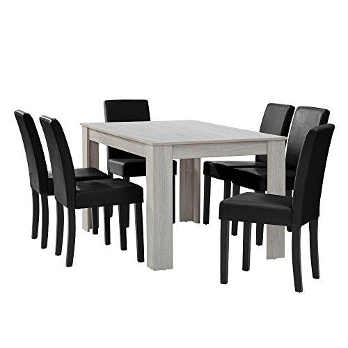 [en.casa] Eethoek - witte eettafel - eiken met 6 zwarte stoelen