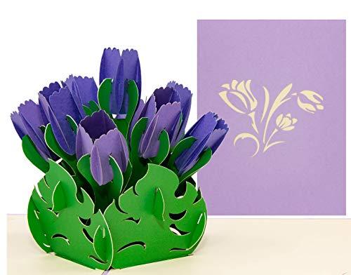 LIMAH®Pop Up 3D Geburtstagskarte, Glückwunschkarte mit 9 Tulpen, Dankeskarte, Abschiedskarte, Geburtstagskarte, Muttertagskarte, Valentienstagkarte