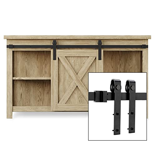 EaseLife 4 FT Cabinet Mini Sliding Barn Door Hardware Track Kit,Easy Install,Slide Smoothly Quietly,Apply for Storage Window TV Stand Closet(No Cabinet)