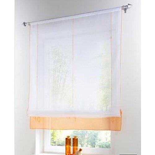 SIMPVALE Raffrollo Gardinen Voile römischen Raffgardinen Schatten Transparent Vorhang für Balkon und Küche (orange, Breite 100cm / Höhe 155cm)