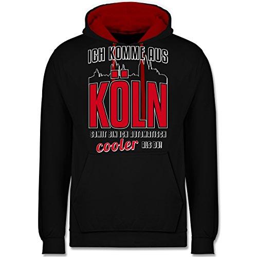 Städte - Ich komme aus Köln - XL - Schwarz/Rot - köln Hoodie - JH003 - Hoodie zweifarbig und Kapuzenpullover für Herren und Damen