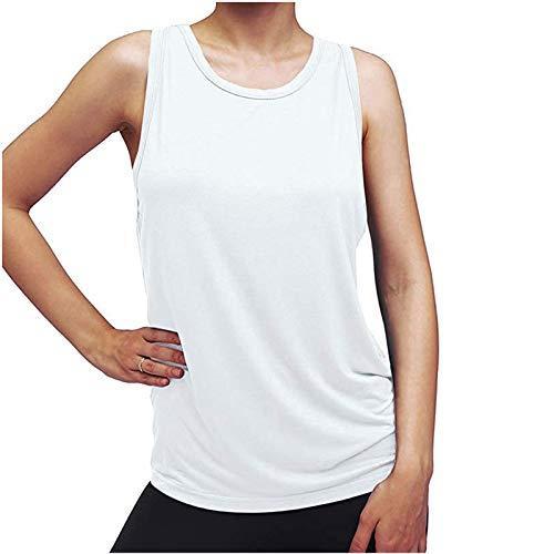 Womens Vest Tops, SHOBDW Female O-Neck Solid Sleeveless Vest Summer Casual Blouse Back Split Sport Fitness Yoga Ladies Tank Top(White,M)