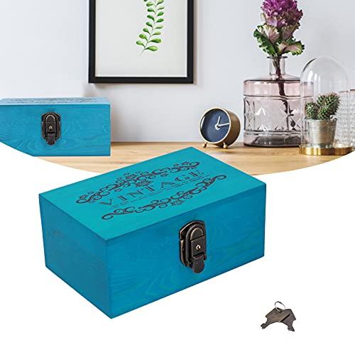 Caja organizadora de almacenamiento, cajas de madera retro azules de bricolaje decorativas antiguas para letras de fotos para collar de joyería