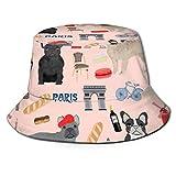 GMGMJ Sombrero unisex francés en París Frenchie con protección UV para el verano, reversible, para pesca, safari, senderismo, camping, playa y paseos en barco