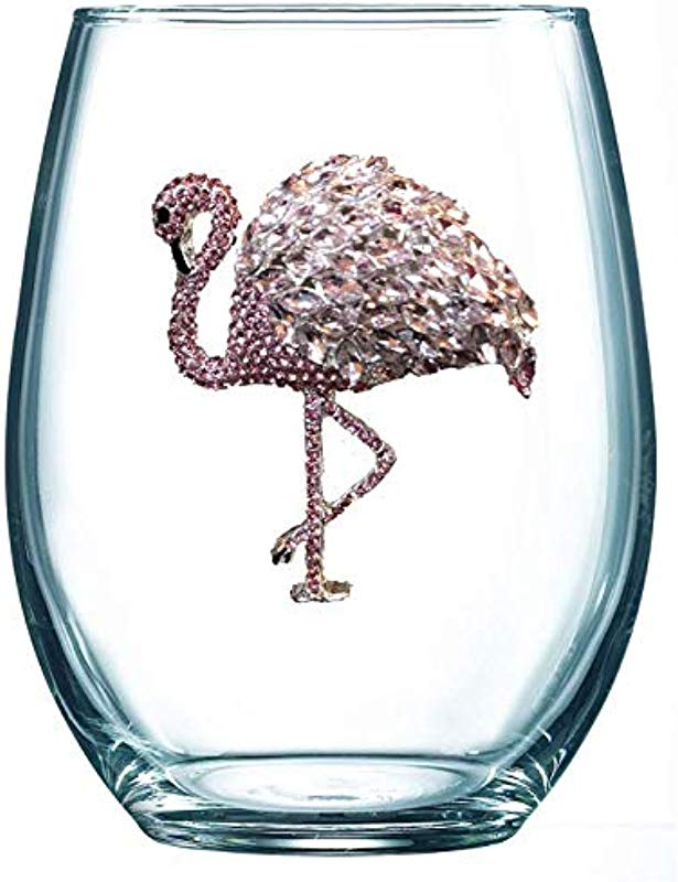 THE QUEENS JEWELS Flamingo Jeweled Stemless Wine Glass Unique Gift For Women Birthday Cute Fun Not Painted Decorated Bling Bedazzled Rhinestone