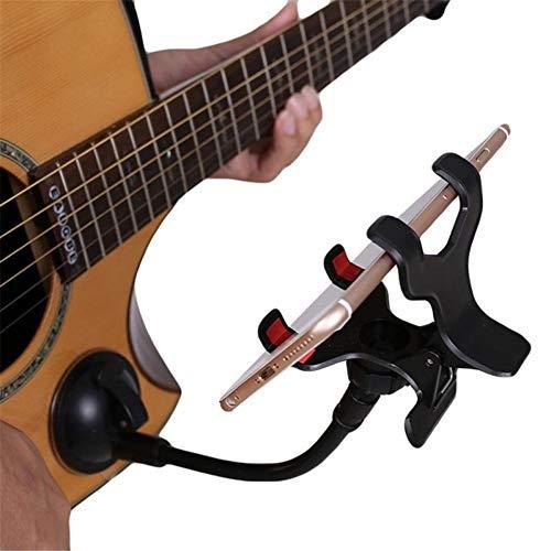 QiHaoHeji Gitaar Stand Gitaar Telefoon Ondersteuning Houder Stand met Ball-joint 360° Rotatie Flexibele Paal Zuignap voor Alle Gitaren