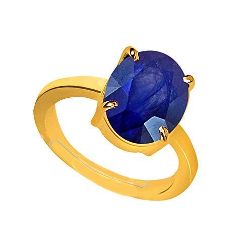 SataanReaper Presents 6.25 Forma Ratti Piedra Natural Anillo De Piedra Oval Neelam Ajustable Anillo De Zafiro Azul del Metal del Anillo Chapado En Oro (Azul, 6,25 Ratti) #SR-769