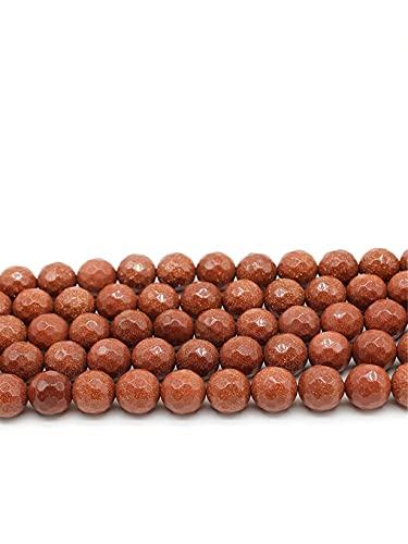 Cuentas de arena de oro facetadas de piedra natural para hacer joyas 4/6/8/10/12 mm espaciador cuentas sueltas DIY collar pulsera accesorios 15 pulgadas oro 12mm aprox 30beads