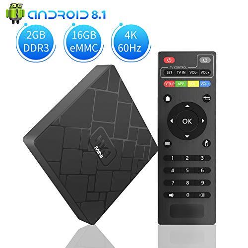 TV Box Android 8.1 - NBKMC HK1 Mini Smart TV Box Quad-Core, 2GB RAM & 16GB ROM, Video 4K UHD H.265, 2 Porte USB, HDMI, WiFi Web TV Box