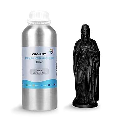 3D Printer Resin, Creality Low Odor Rapid Resin LCD UV-Curing Resin 405nm Standard Photopolymer Resin for 3D Printing (Black, 1000g)