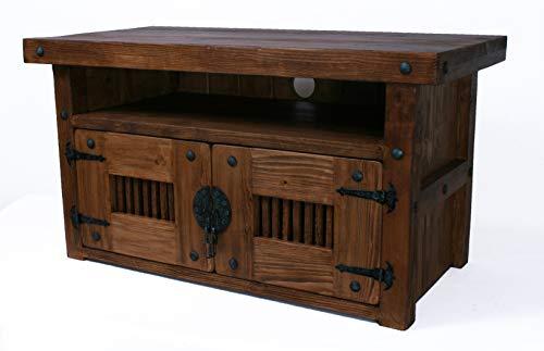 Meuble de rangement en bois rustique fait à la main pour TV - Couleur bois foncé