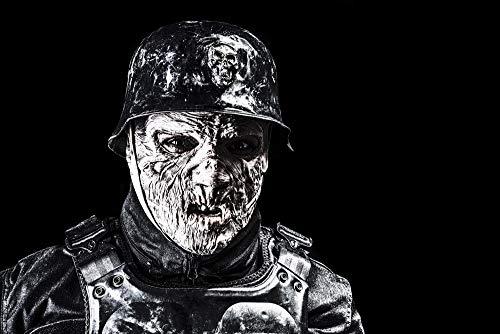 Posterazzi PSTZAB103011M Ugly Burnt face of Futuristic Nazi Soldier Wearing a Steel Helmet Photo Print, 11 x 17, Multi