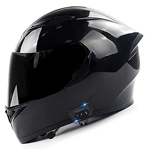 YLXD Bluetooth Casco de Motocicleta Modular, Casco de Moto de Cara Completa con Visera antivaho Doble Frontal abatible Seguridad, Casco de Carreras Certificado por ECE Hombres Mujeres C,XXL