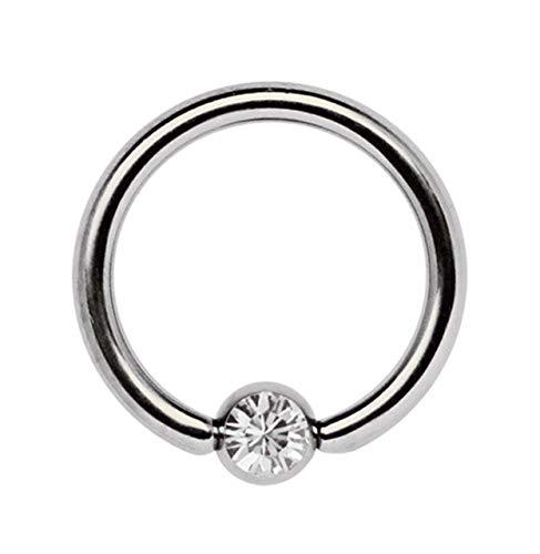 Ohrpiercing Titan Piercing Ring 1,2 x 8 mm mit Zirkonia Kugel in klar