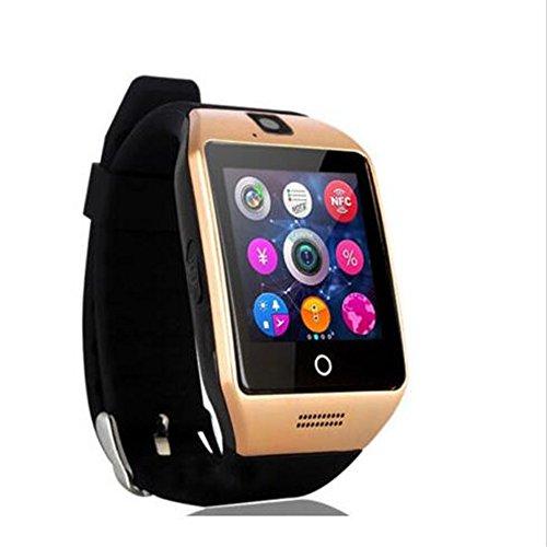 SmartWatch, reloj inteligente Bluetooth Q18 de 1.54 pulgadas, compatible con cámara NFC, tarjeta TF, reloj inteligente para teléfono Android, iOS, iPhone, Huawei Samsung (dorado)