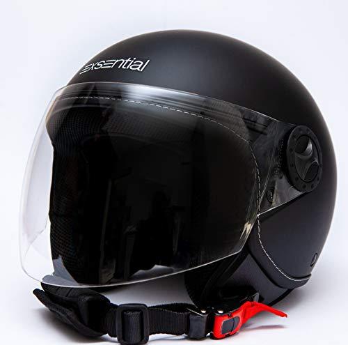 Exsential EX 730VL - Casco semijet, negro mate para scooter y moto,