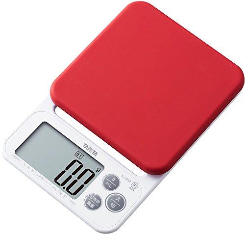 タニタ クッキングスケール キッチン はかり 料理 シリコンカバー付き デジタル 2kg 0.1g単位 レッド KJ-212 RD カバーが洗える