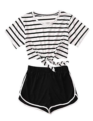 Shorts und Top Sets Zweiteiler Damen Sommer Teenager Mädchen 2 Teile Sommer Strand Streifen Tie Up Bauchfrei Crop Tops mit Sport Kurze Hose Set Gestreift T-Shirts Hosen Anzug Beachwear (Weiß,M)