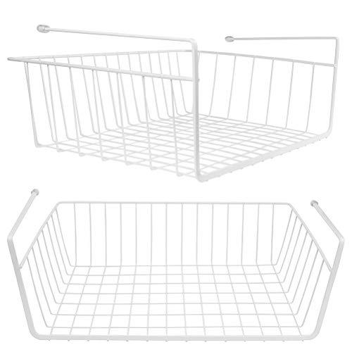 Lawei 2er Set Regaleinhängekorb Hängekorb Metall Schrankkorb Regal für Küchenschrank Kleiderschrank Aufbewahrungs-Korb - Weiß