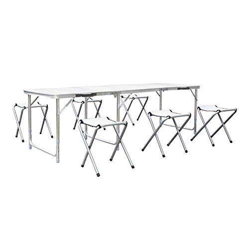 Homfa Campingtisch Klapptisch Gartentisch Falttisch mit 6 Stühlen aus Aluminium faltbar höhenverstellbar weiß 180x60cm