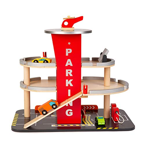 boppi Wooden Toy Garage Carpark 36cm High for Kids with Working 3 Floor Lift Elevator Carwash Petrol Pump 3 Play Car Vehicles and Helicopter