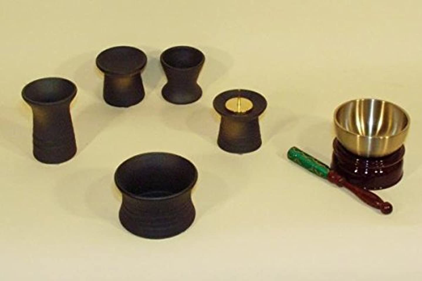 お願いします最少トレッドモダン仏具セット 陶具鉄釉(小)