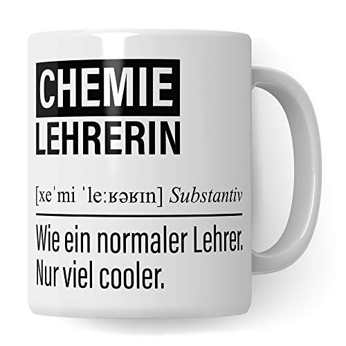 Chemielehrerin Tasse, Geschenk für Chemie Lehrerin, Kaffeetasse Geschenkidee Lehrerin, Kaffeebecher Lehramt Schule Chemie Unterricht Witz