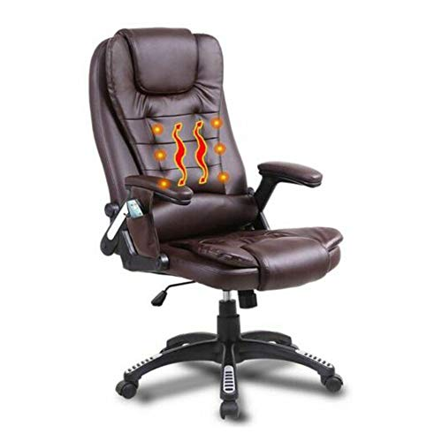 330 Lb Durable & Stable Base Heated Vibrating Office Massage Chair Executive Adjustment Ergonomic Computer Desk PU Leather & High Back with Built-in Lumbar Support- Brown