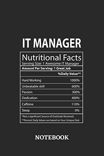 Nutritional Facts IT Manager Awesome Notebook: 6x9 inches - 110 graph paper, quad ruled, squared, grid paper pages • Greatest Passionate working Job Journal • Gift, Present Idea