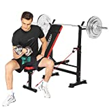 Adjustable Weight Bench with Squat Rack for Full Body Workout, Weight Benches with Pull Rope for Home Gym (Red)
