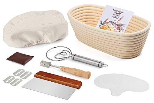 Xipeel Bread Proofing Baskets Set,10Inch Oval Rattan Banneton Baskets, Basket Covers, Metal Scraper, Stainless Whisk, Scoring Lame with 5 Blades and Case, 16 Stencils, Oval Shape For Bakeware