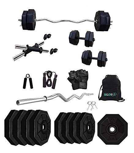 StarX 12kg Hexa Shape Home Gym Combo with 3 ft Curl Rod, 3kg x 4 Plates Accessories