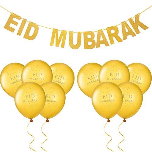 Zonon Eid Mubarak Festival Party Decoration Set, Includes Banner and 10 Pieces Gold Eid Mubarak Balloons for Home Party Decoration (Style Set 2)