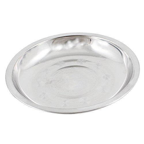Plato de vajilla de acero inoxidable, plato redondo de acero inoxidable, ideal para camping, almuerzo y cena de niños o uso diario, plata, 18 cm