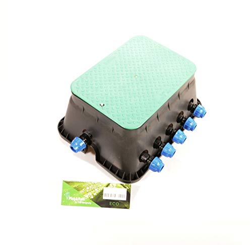 """Ventilbox ECO - 5 x Hunter PGV-100 MMB Magnetventil (5 Zonen), mit (1\"""") 32 mm Anschlüssen für PE-Rohr Bewässerung. 24 Volt AC Bewässerung Ventilschacht"""