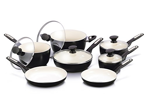 GreenPan Rio 12pc Ceramic Non-Stick Cookware Set, Black - CW0005535