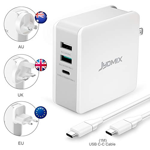 JYDMIX USB C PD Charger 65W, 3-poorts Universal Travel Charger met USB-C Power Delivery, USB QC3.0 Fast Charge and Standard USB-A. Worldwide 65W USB Power Travel Adapter met verwisselbare pluggen