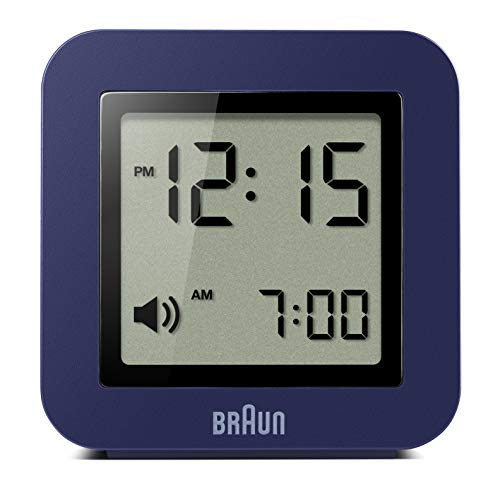 Braun Digital Travel Alarm Clock with Snooze, Compact Size, Positive LCD Display, Quick Set, Beep Alarm in Blue, Model BNC018BL.