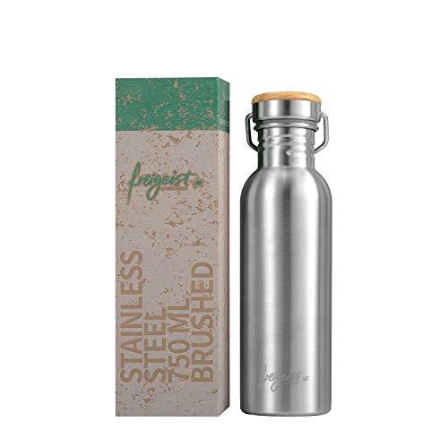 freigeist Trinkflasche Edelstahl 750 ml einwandig   Sportflasche BPA-frei dicht   Auslaufsichere Outdoorflasche mit Bambusdeckel (matt)