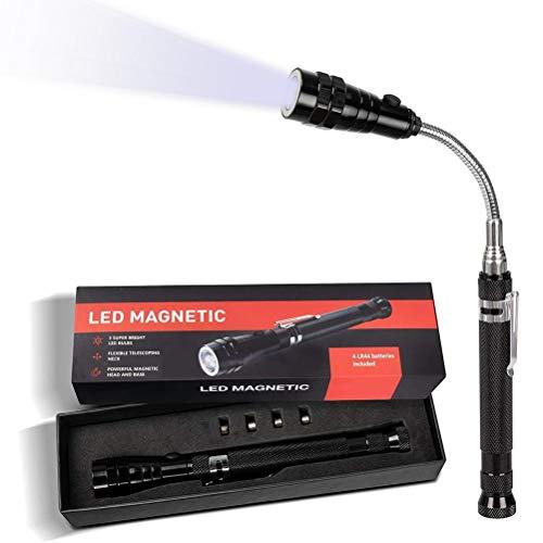 CeFoney Herramienta telescópica magnética de recogida Maglite linterna Pick Up Grab Tool Portable Telescoping Magnet Pickup Gadgets Herramientas con herramientas LED para hombres regalos