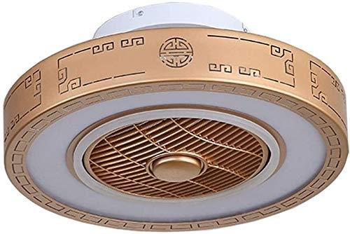 Qinmo Deckenventilator, Innenbeleuchtung New Gold runde LED Deckenventilator Licht, Chinesisch Schlafzimmer Zimmer Kronleuchter Negativ-Ionen-Fan Fernbedienung Drei-Ton-Lampe, Durchmesser 60 cm, hinzu