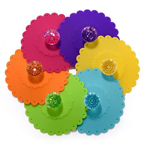 Tapas de Taza de Silicona Tapas de Taza de Diamante Redondo Creativo Cubierta de Taza de Vidrio Tapas de Taza de Vidrio de Silicona Taza de Silicona Reutilizable para Tazas Tapas