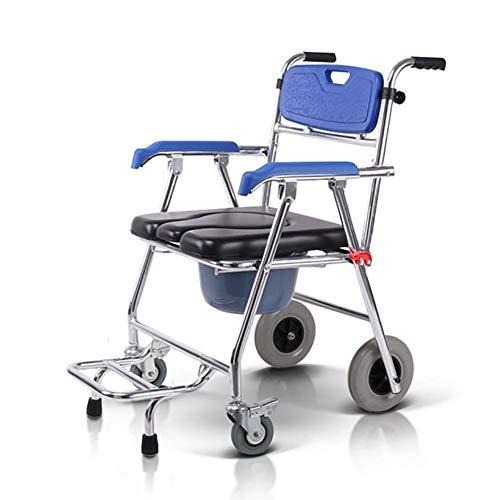 Shower Wheelchair, Multifunction Heavy Duty Memory Foam Cushion Commode Chair Adult Bathroom Toilet Seat for Elderly