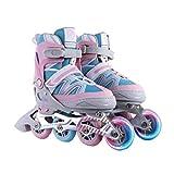 WTTO Roller Blades, Ajustable Patines en línea Cuero Transpirable con Hebilla de Seguridad Patines niña Duradero y Fuerte Ideal para Principiantes,Pink_L-24-26.5cm