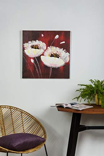 Mendola Art da 218ope3145a Dipinto a Mano Bianco Poppies, 60x 60cm